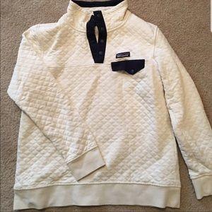 Patagonia quilt pullover birch w/ navy trim